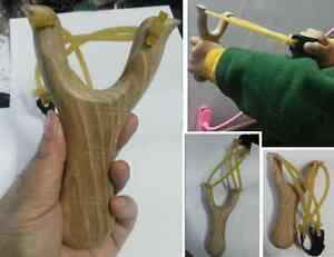 Handmade Wooden Slingshot Wooden Catapult with Rubber Band Kids Toy