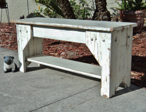 Rustic Indoor Bench, Entry Seat, Farmhouse Furniture, Beach