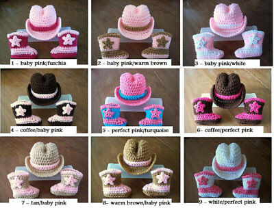 COWBOY COWGIRL newborn baby HAT and BOOTS set Brown crochet 0-3  mo PHOTO PROP