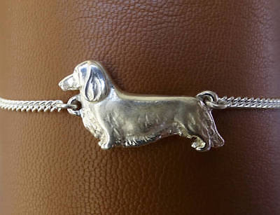Sterling Silver Long Hair Dachshund Standing Study Anklet