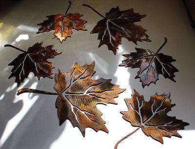 Metal Wall Art Maple Leaves Set of 6 Metal Art
