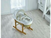 Kinder valley ABC teddy moses basket. Cream With rocking stand. Country pine brand new.