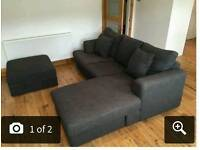 Next settee/chaise with footstool.dark grey