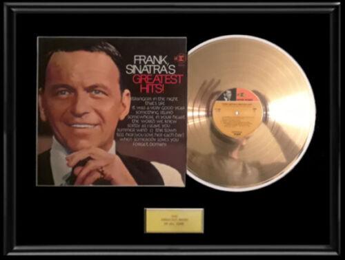 FRANK SINATRA GREATEST HITS ALBUM FRAMED GOLD METALIZED RECORD ALBUM LP DISC