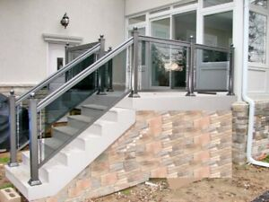 Aluminum glass railing with column gate fence.Homestars reviewed