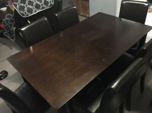 Dining table with 6 leather seat chairs for sale