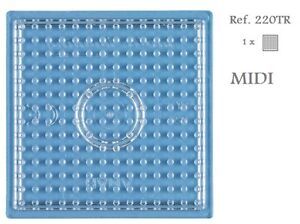 220TR-Hama-Beads-MIDI-Placa-cuadrada-pequena-transparente-little-Pegboard