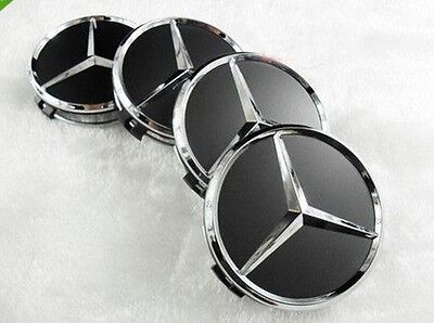 Mercedes Benz Center Caps 4x Gloss Black/Chrome 3 Inch/75mm Fits Most Models
