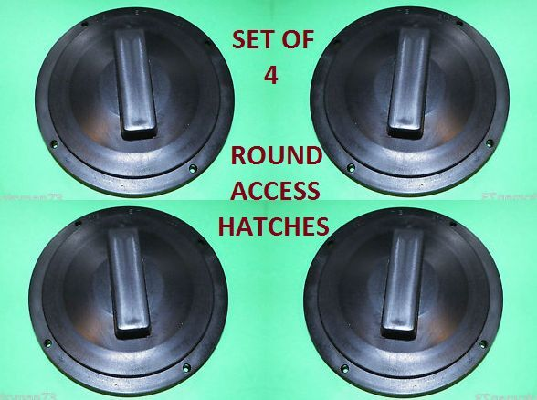 "SET OF (4) 4 3/4"" round access Hatch cover lid Screw out Deck RV CAMPER BOAT BLK"