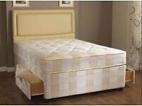 "**FREE LONDON DELIVERY** Kingsize Divan Bed w/ 9"" Deep Quilt Mattress **Headboard Drawers Optional**"