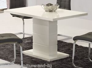 CONTEMPORARY WHITE HIGH GLOSS DINING TABLE WITH WHITE PILLAR, STUNNING TABLE