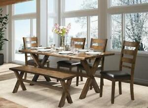 Live edge Banff dining set, includes table, 4 chairs and bench