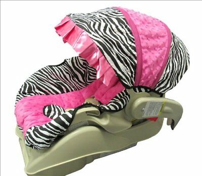 Hot Pink Minky and Zebra Baby/Toddler Car Seat Cover and Hood Cover - Version B