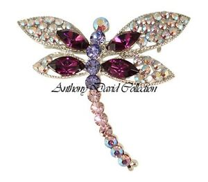 Ladies Crystal Dragonfly Brooch Pin with Swarovski Crystals