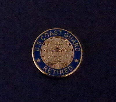 "U.S. COAST GUARD RETIRED Lapel Pin 5/8"" round USCG United States crossed anchors"