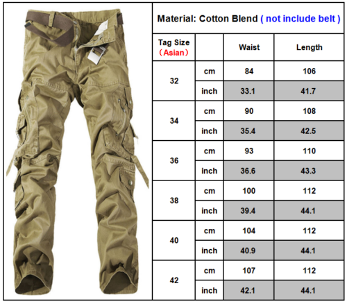 Men Pocket Cargo Shorts & Long Pants Hiking Work Outdoor Casual Trousers Bottoms Clothing, Shoes & Accessories