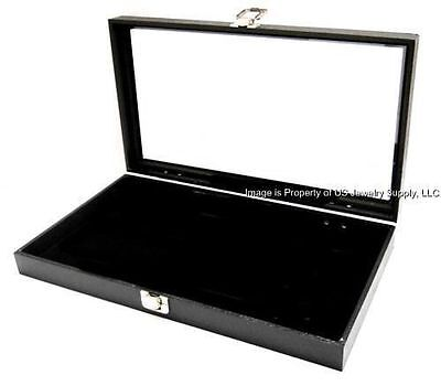 1 Glass Top Lid Black Pad Display Box Case Militaria Medals Pins Jewelry Knife