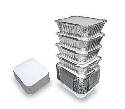 55 Pack - 1lb Aluminum Foil Pan Containers With Lids Take Out Pans Food Conta...