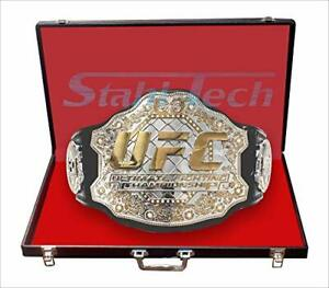 ultimate fighting champion leather belt dual gold plated (repli