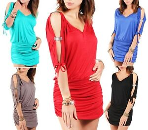 New-Womens-Ladies-Sexy-Mini-V-Neck-Open-Sleeve-Tunic-Dresses-Top-UK-Size-8-18