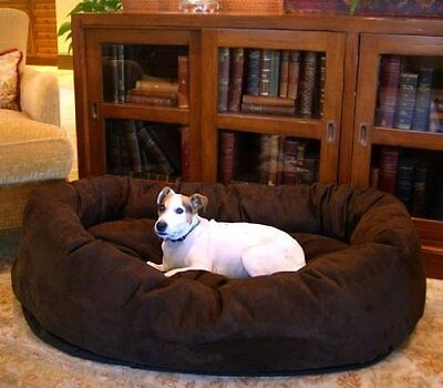 XL Dog Bed Chocolate Brown Pet Extra Large Breed Majestic Bagel Style Suede 52