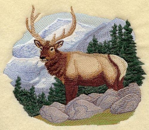 Embroidered Ladies Fleece Jacket - Elk in the Mountains M1832 Sizes S - XXL