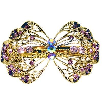 Anthony David Vintage Style Gold Metal & Purple Crystal Hair Accessory Clip