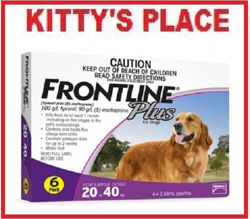 Frontline Plus Flea & Tick Treatment For Dogs LARGE 20 - 40kg   6 Pack