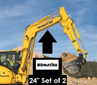 Komatsu 24 Black Vinyl Decal Sticker Set Of 2 Mini Excavator Loader 4x4