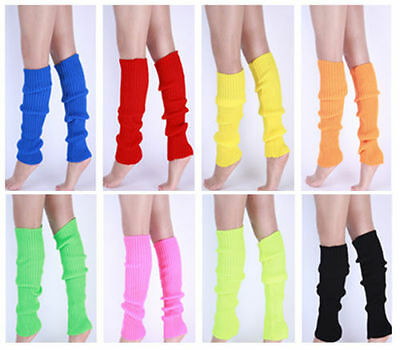 New Women Party Legwarmers Knitted Neon Dance 80s Costume 1980s Lady Leg Warmers - Leg Warmers 80s