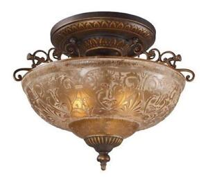 NEW Landmark 08099-AGB Restoration 3-Light Semi-Flush Mount, Golden Bronze, 14-Inch H