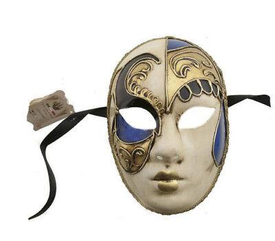 Mask Venice Volto Blue & Black Gold Authentic Carnival Venetian 78