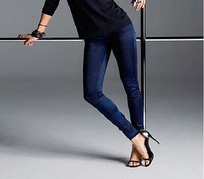 True Religion x Joan Smalls Super Skinny Mid-Rise Satin Blue Black Legging Sz 28
