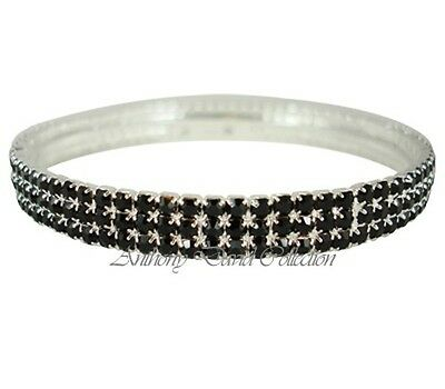 Black Crystal Stackable Style Bangle Bracelet with Silver Metal