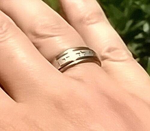 Love of God Ani LeDodi Rotating Spin Ring Silver Gold Tone Wedding Psalms Hebrew