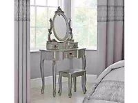 Beautiful Silver French Chic Louis Style Dressing table And Stool And Mirror