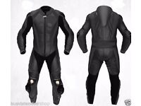 Black Motorcycle Leather Suit Racing Cowhide Leather Suit ONE PIECE