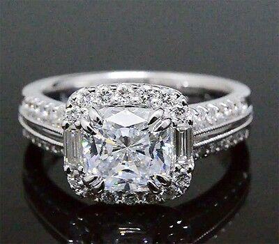3.70 Ct. Radiant Cut & Baguette Halo Platinum Diamond Engagement Ring H,VS1 GIA