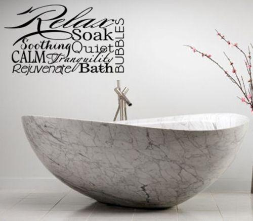 Bathroom vinyl wall art ebay for Bathroom vinyl decor