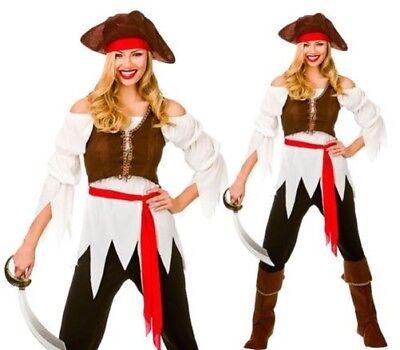 Pirate Karibik Leichtes Mädchen Kostüm Outfit UK 6-24 (Leichte Mädchen Kostüme)