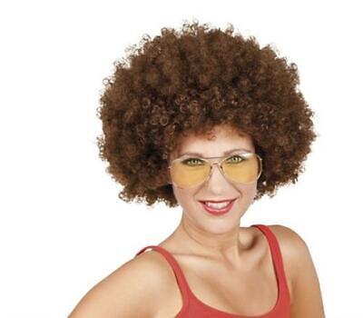 Curly Perücke (Afroperücke PERÜCKE AFRO Locken Lockig Curly braun 70er Jahre Lockenkopf Kopf)