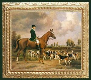 FOX HUNT Framed Miniature Dollhouse Fine Art Picture