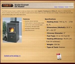 Drolet Everest oil stove
