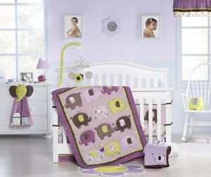Carters Purple Elephant Patches Bedding set.