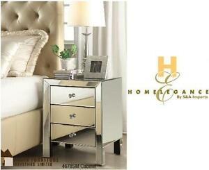 "NEW HOMELEGANCE MIRRORED CABINET 19"" x 18"" x 24"" - BEDROOM FURNITURE NIGHT TABLE 106610079"