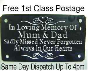 Metal Bench Memorial Plaque Plate Sign Personalised Engraved 85x45mm