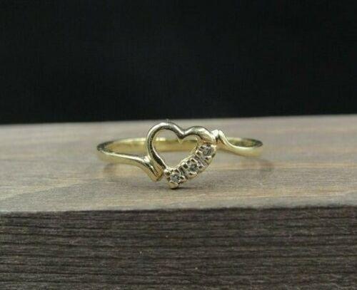 Size 7.5 10K Yellow Gold Genuine Diamond Heart Love Band Ring