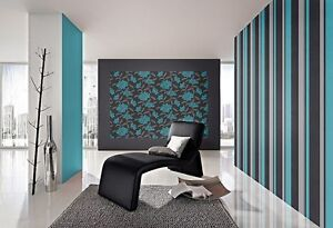 tapete rasch new beats 718287 vlies t rkis schwarz floral blumen. Black Bedroom Furniture Sets. Home Design Ideas