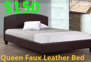 QUEEN FAUX LEATHER BED ONLY $150,,DEAL OF THE WEEK