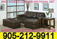 NO TAX 3PCS AIR LEATHER SECTIONAL SET
